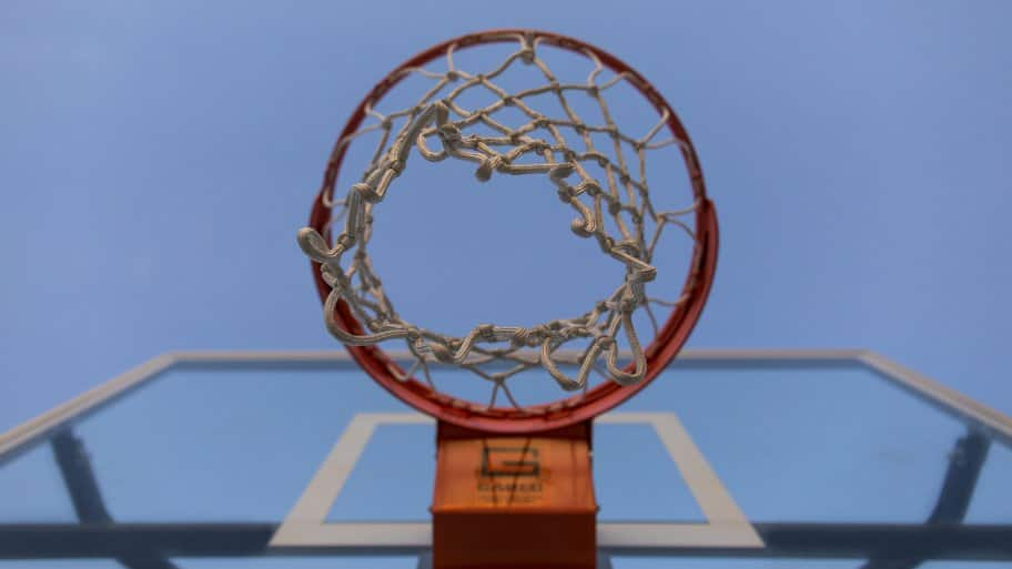 view from bottom of basketball goal