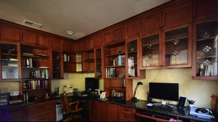 Marks Says His Neighbors Are Oohing And Aahing Over True Grain Woodworksu002639 Custom Cabinets In Home Office Photo Courtesy Of Scott Marks  O