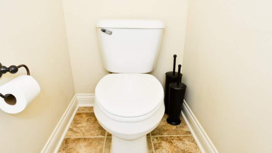 White toilet in bathroom