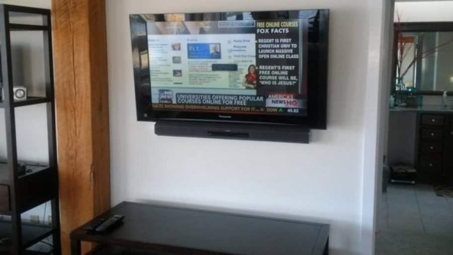 flat screen TV on a wall