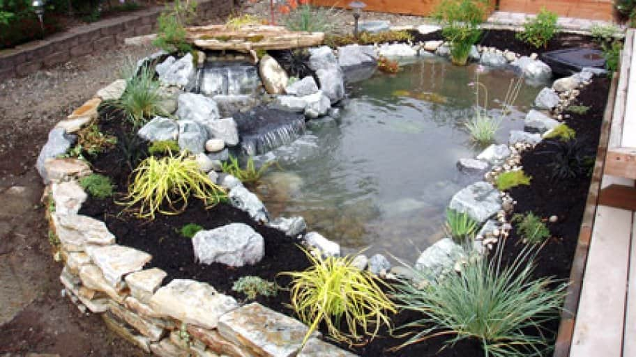 raised flower bed and waterfall