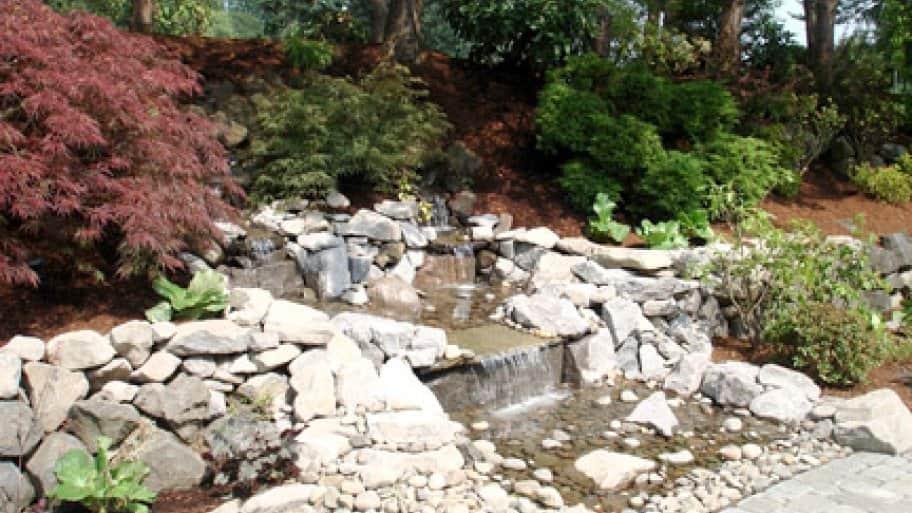 waterfall among rock landscape