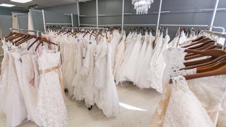 wedding dresses in bridal shop