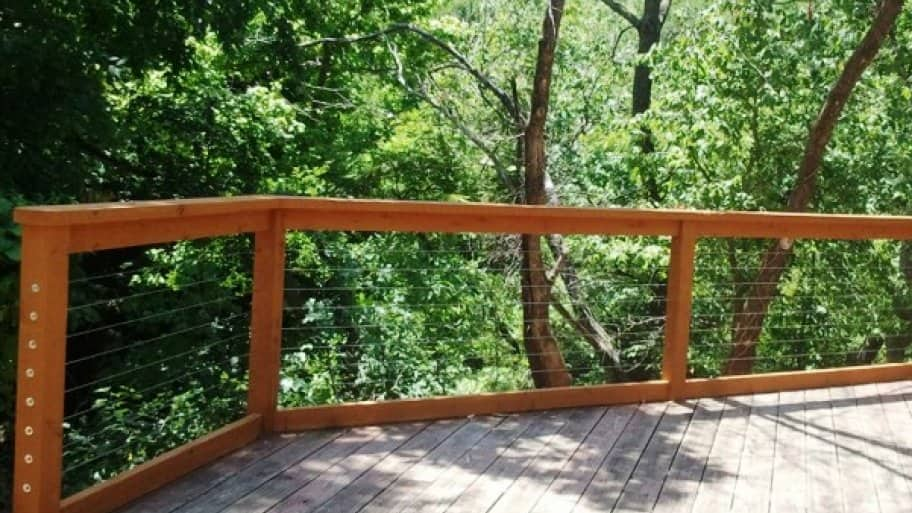 Cable railings can save lumber costs and provide a better unobstructed view for your deck. (Photo courtesy of Angie's List member Jim L. of Savage, Minn.)
